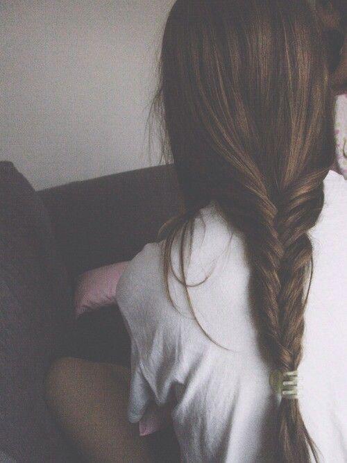 pretty hair girl brown hair Grunge fishtail braid pale thegoodvybe