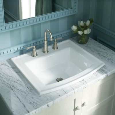 Kohler Archer Drop In Vitreous China Bathroom Sink In White With
