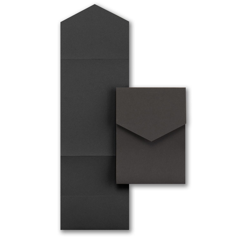 Carlson Craft Pocket Wedding Invitations: Pocket, Black, Addressing Envelopes