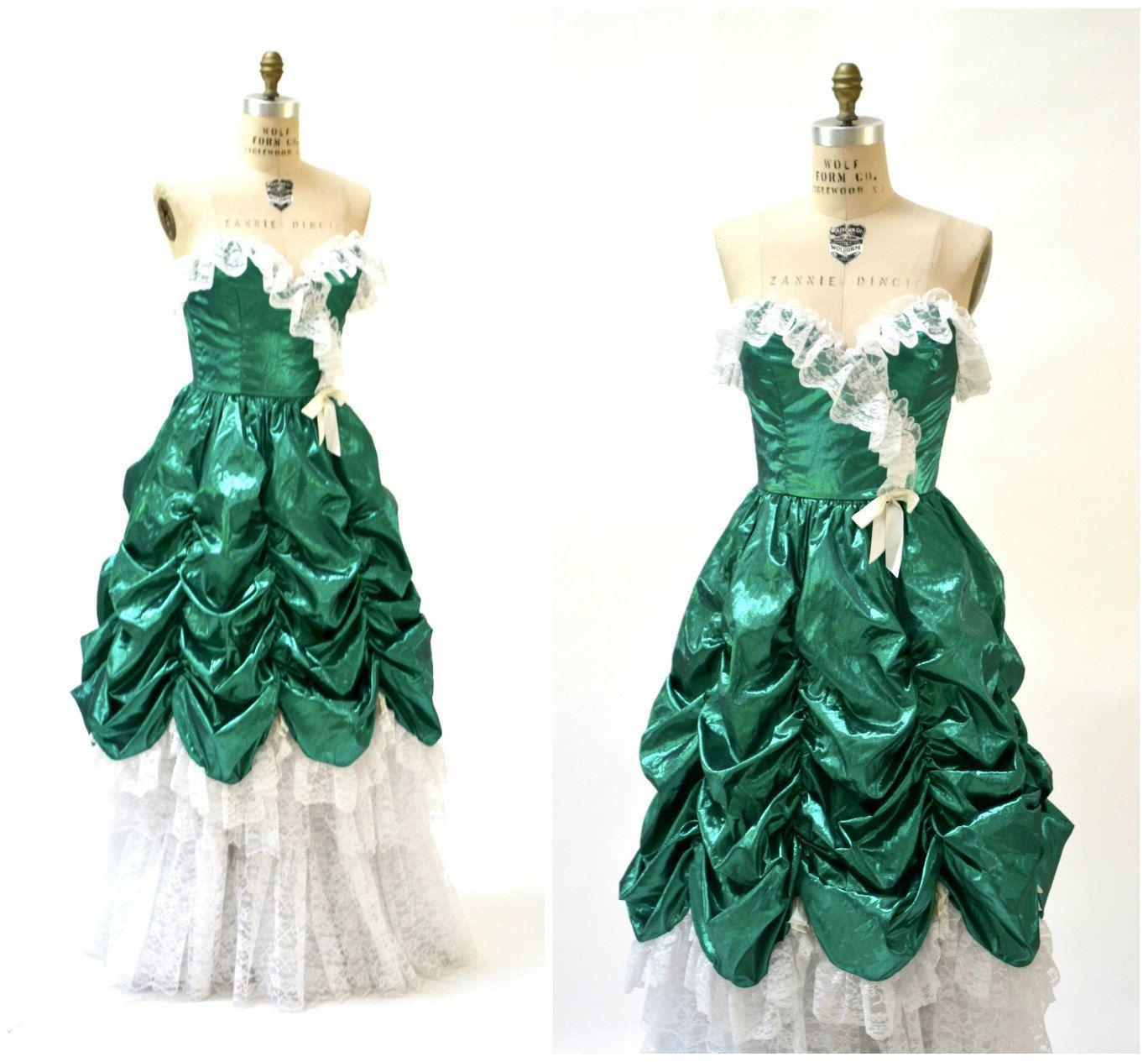 Vintage s prom dress xs small metallic green vintage s