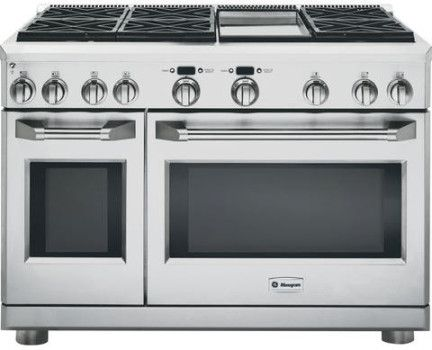 Monogram Zgp486ndrss 48 Inch Pro Style All Gas Range With 6 Sealed Dual Flame Stacked Burners Griddle 6 2 Cu Ft Caterer Oven Reverse Air Convection With Images Kitchen