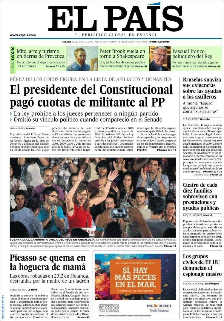 Los Titulares y Portadas de Noticias Destacadas Españolas del 18 de Julio de 2013 del Diario El País ¿Que le pareció esta Portada de este Diario Español?