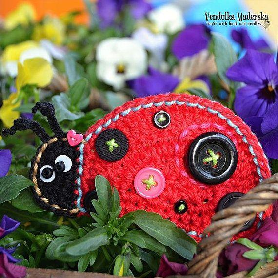 Crochet ladybug applique pattern DIY von VendulkaM auf Etsy