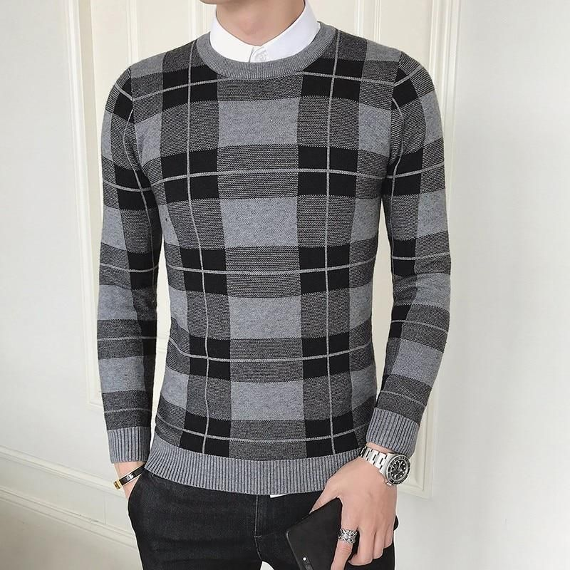 Mens Sweater Cardigan Wool Plaid Elegant Shirt Single