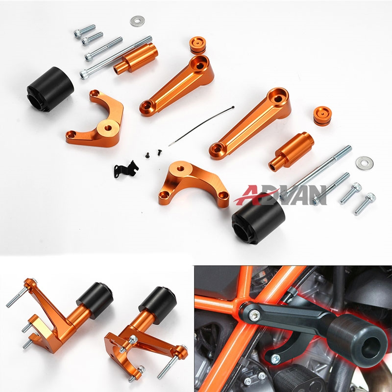 171.00$  Watch here - http://ali5k2.worldwells.pw/go.php?t=32473232382 - Motorcycle CNC Frame Slider Cover Protector Bobbins fit for KTM 1290 Super Duke /R (Orange) 171.00$