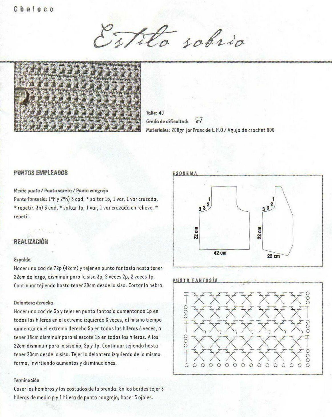 Chaleco clasico estilo sastre a ganchillo - Patrones Crochet ...