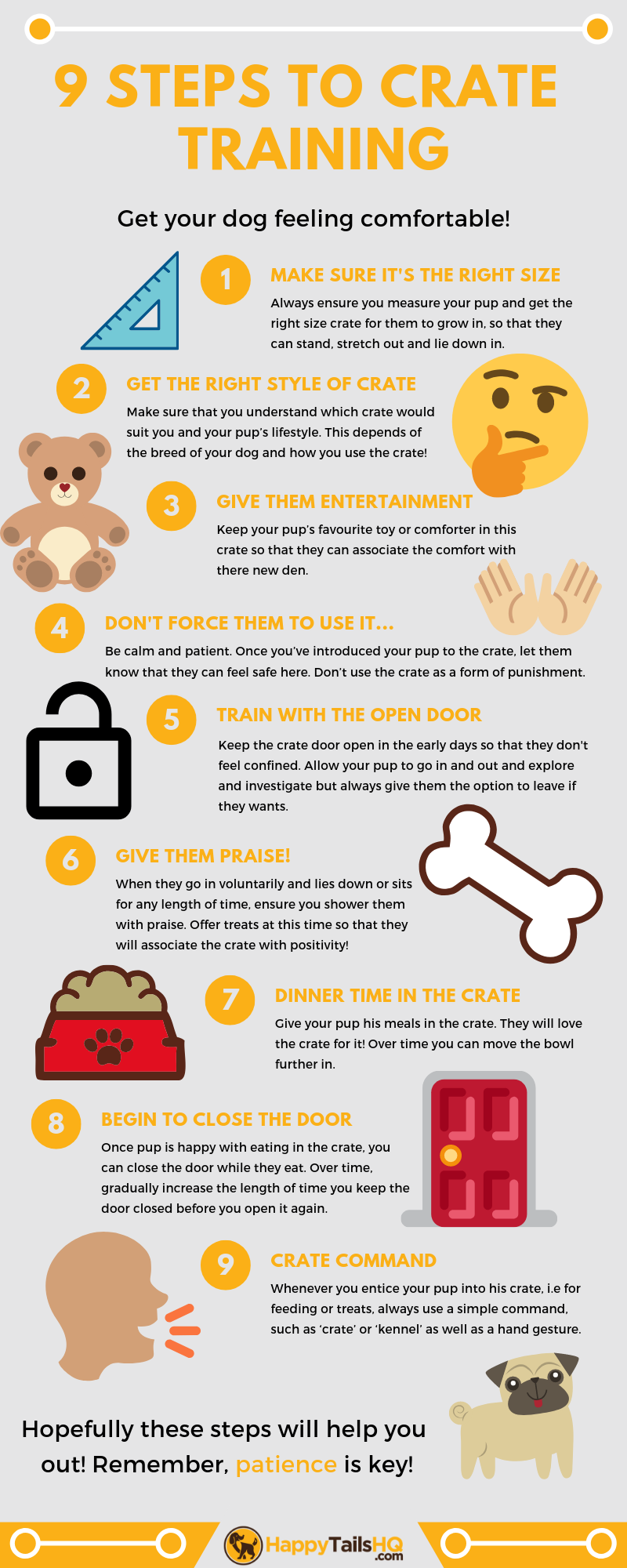 Here are 9 easy tips/ steps to crate training your dog! Make sure to check out our blog post for more info and find out which are the best dog crates for your dog!