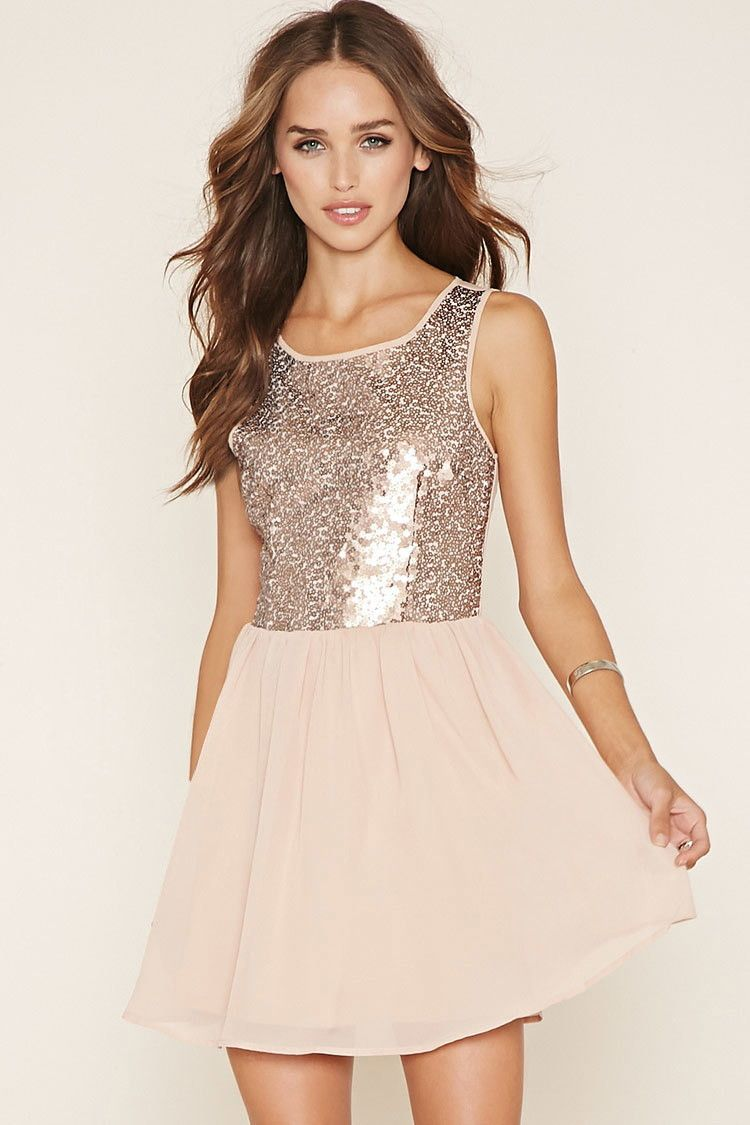 6c04cf6f3c1 Sequined Fit   Flare Dress