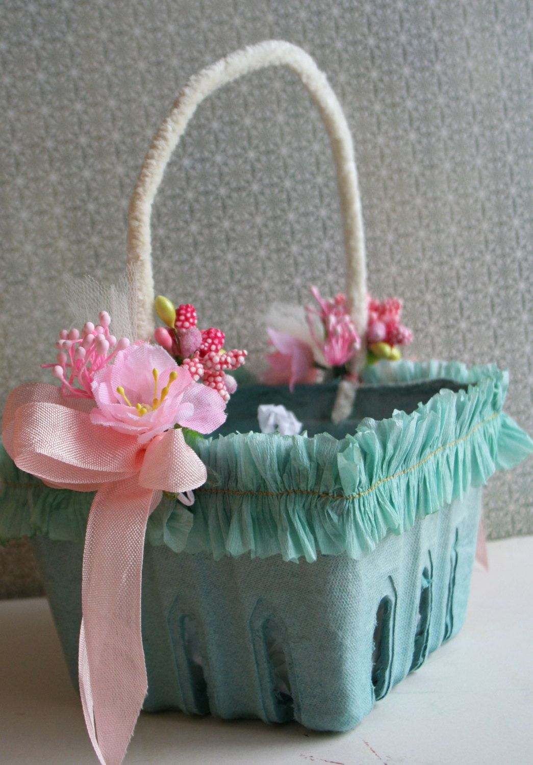 Pale Aqua Blue Easter Basket with Crepe Paper Ruffles and ...