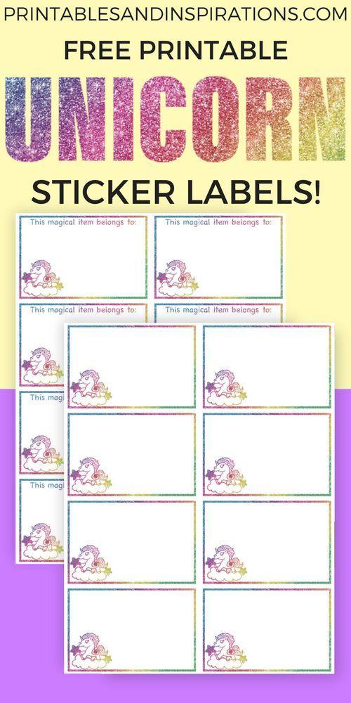 Free Rainbow Unicorn Stickers Printable Labels - Super ...