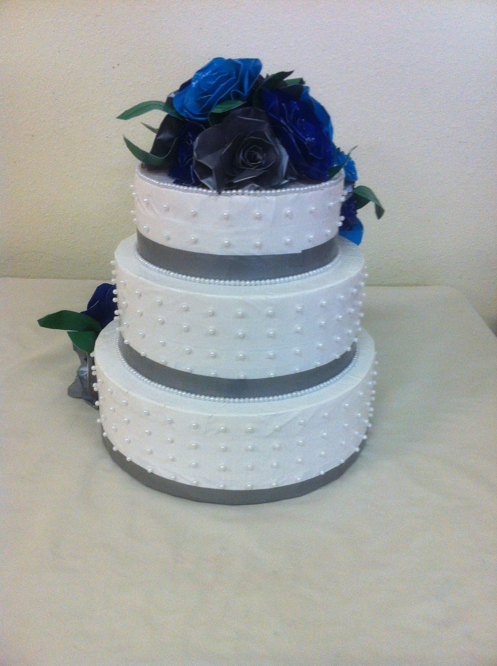 The other side of the Duct Tape Wedding Cake and decorated with pearls too!