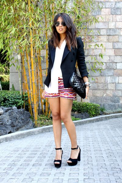 f6dcc84f0 Black-zara-blazer-hot-pink-tribal-tailored-shorts-white-thrifted-blouse 400
