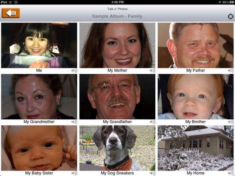 Talk'n Photos is a simple to navigate talking photo album