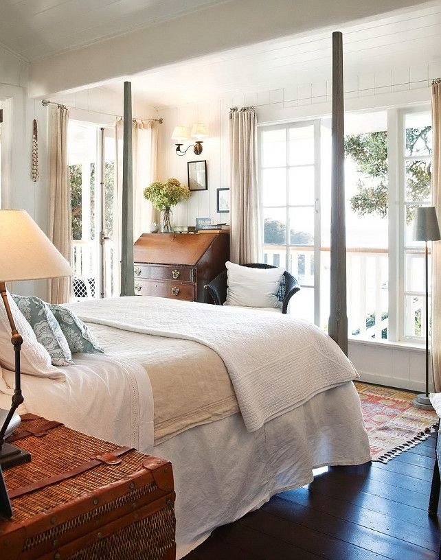 Style Bedroom Designs Cottage Style Bedroom With Dark Wood Floors And Bright White