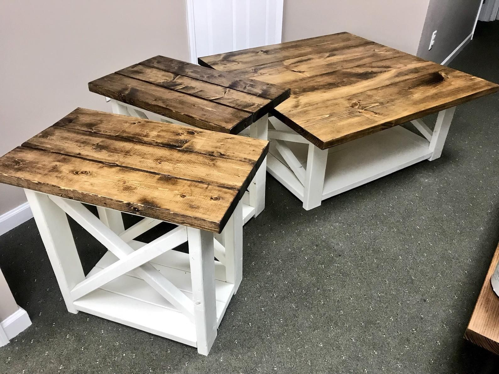 Rustic Living Room Set Large Farmhouse Coffee Table With Set Etsy Coffee Table Farmhouse Coffee Table Wood Wood Coffee Table Rustic