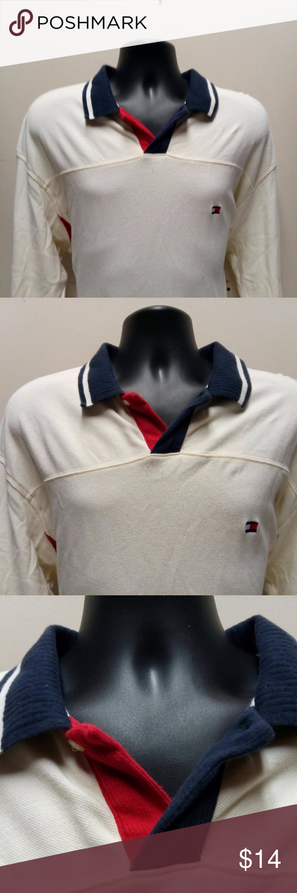 Tommy Hilfiger Vintage Mens Polo SIze XL Flag Long Sleeve VIntage Tommy Hilifiger Polo- In good preloved condition Tommy Hilfiger Shirts Polos