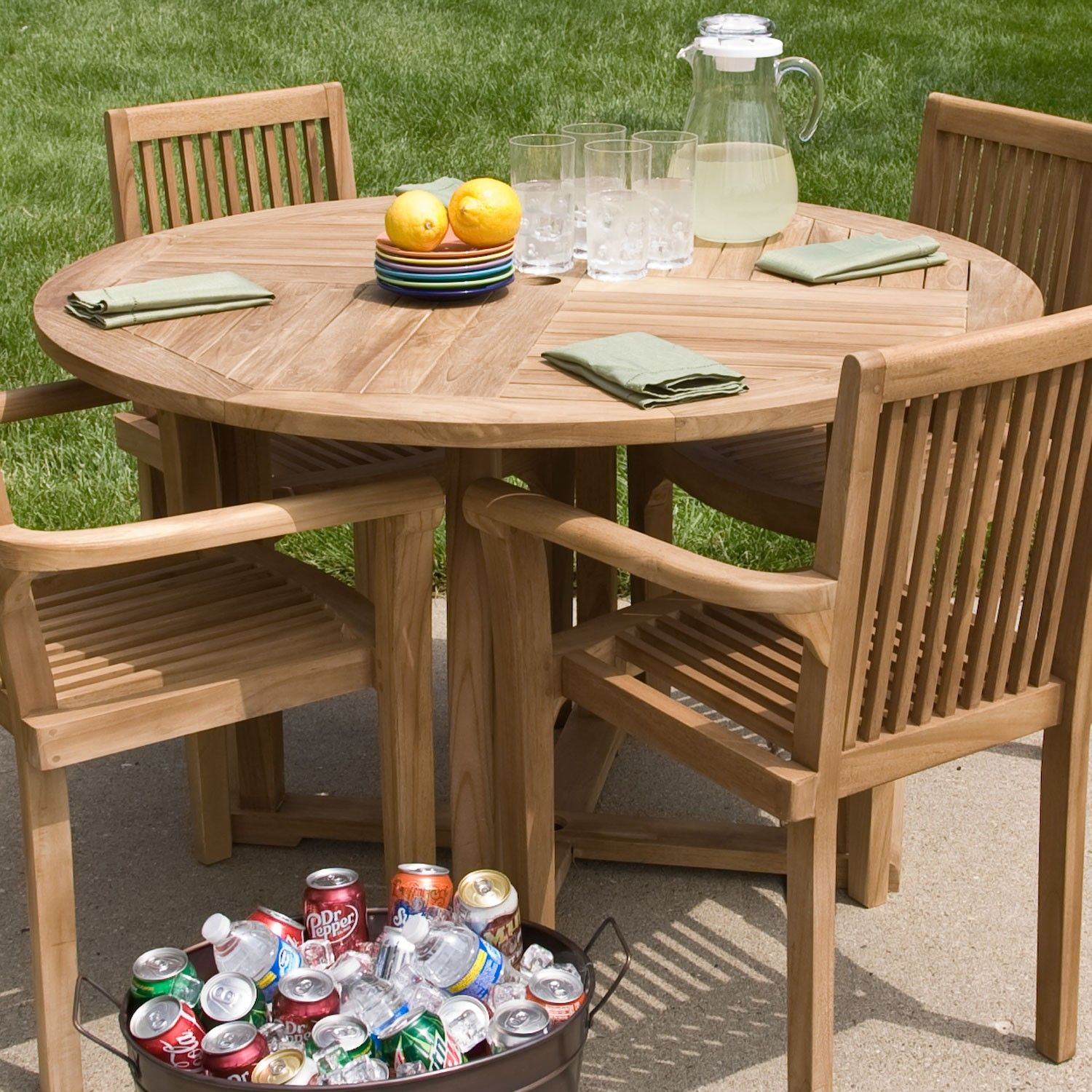 Teak Round Dining Table (With images) | Teak patio furniture