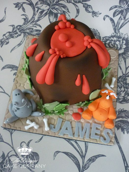 Volcano dinosaur birthday cake by The Designer Cake Company 4