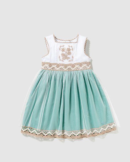 24bbbdd733bf0 Vestido de niña Tizzas bicolor con bordados