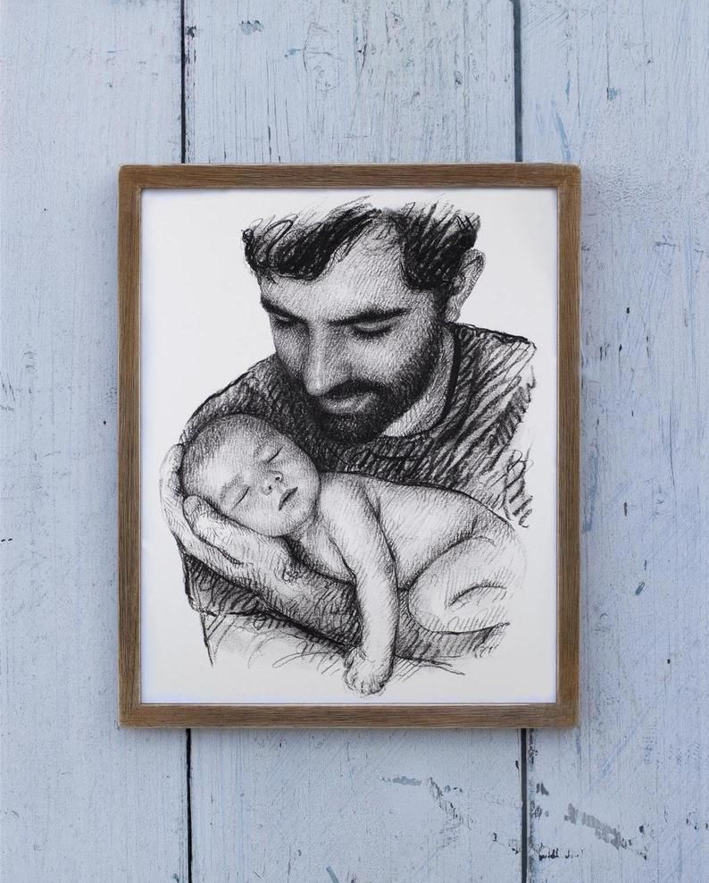 Custom portrait from photo baby and daddy best dad gifts