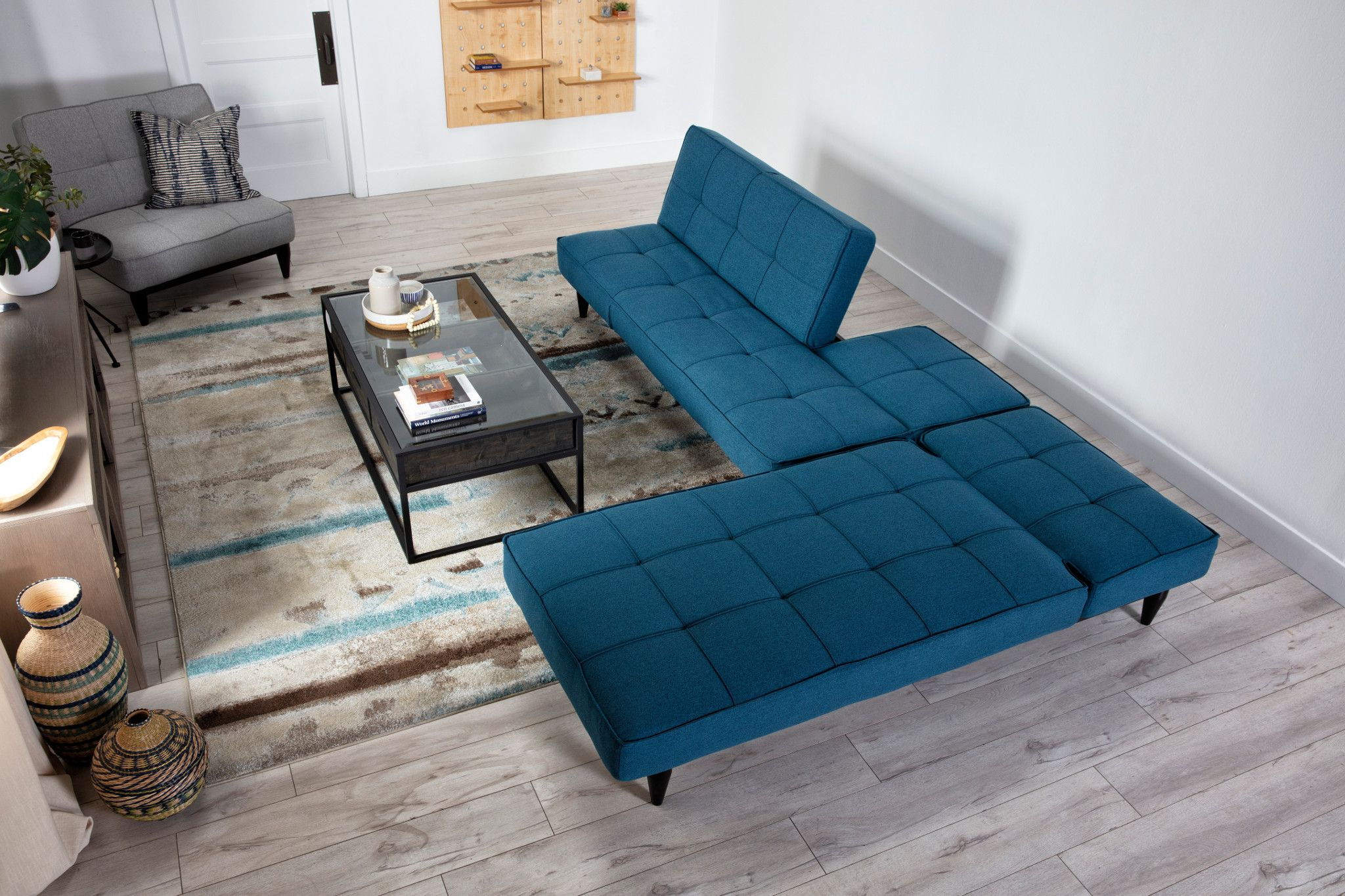 Paige Blue Convertible Sofa Chaise Sleeper Couches For Small