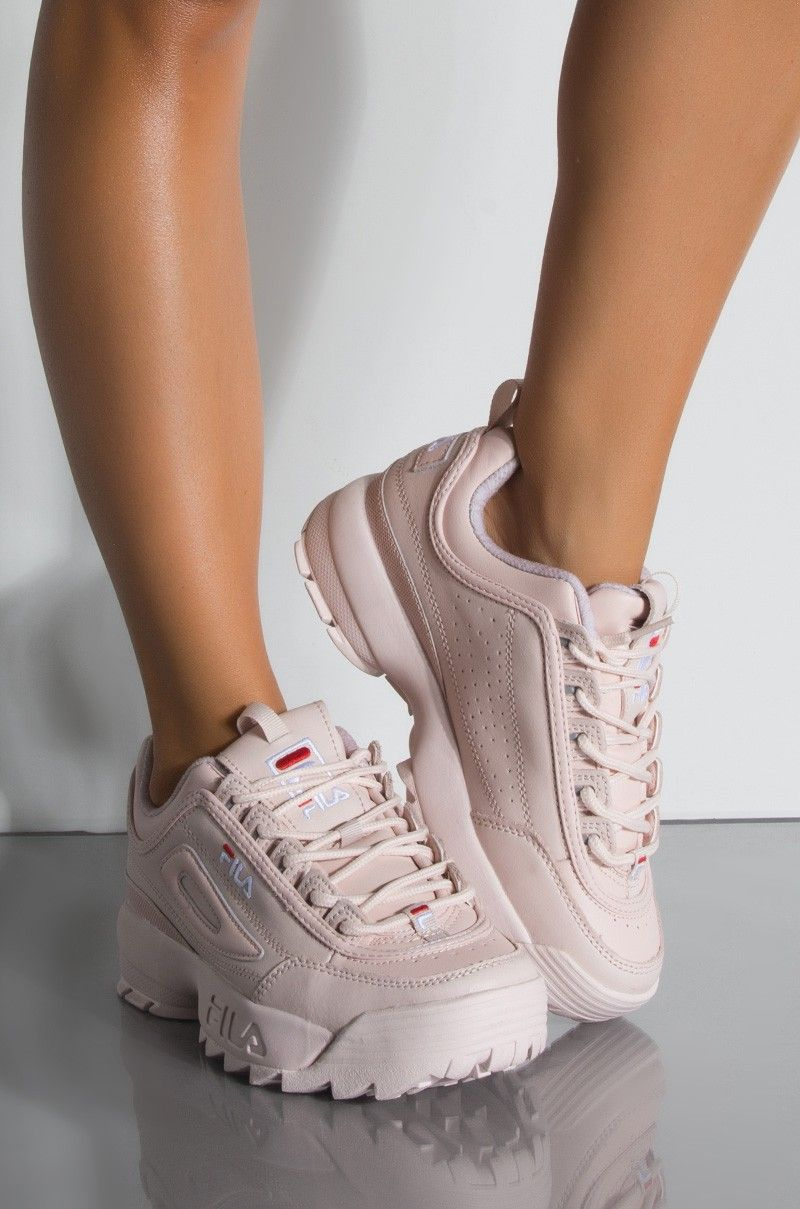 16cddf36363 Front View Fila Womens Disruptor Ii Premium Sneaker in Peach Blush Bright  White Red
