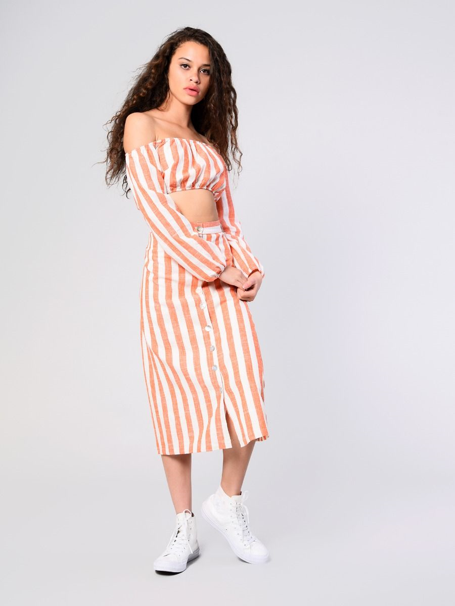 bcafa96db632e9 Spring Refresh | White Orange Stripe Bardot Crop Top | Glamorous ...