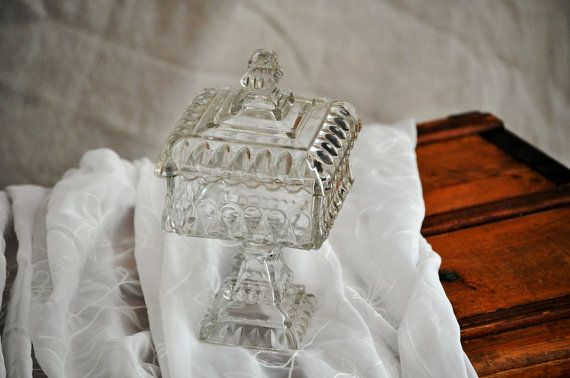 Pedastal Candy Dish Vintage Square Serving Dish by TheVelvetBranch, $56.00