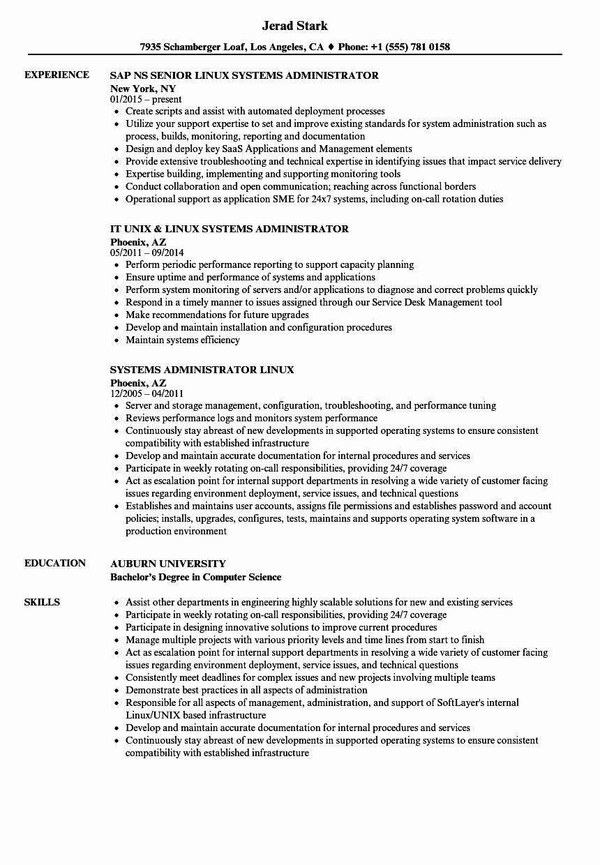 System Administrator Resume Examples Elegant Systems