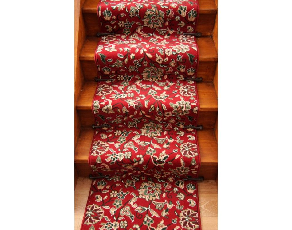 Lima 021 Red Floral Stair Carpet Runner 60Cm Wide Red Carpet | Floral Carpet For Stairs | Modern | Brown Pattern | Pattern | Laminate | Diamond Pattern