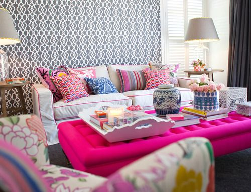 COLOR CRUSH: Hot Pink | Pink ottoman, Ottomans and Trellis wallpaper