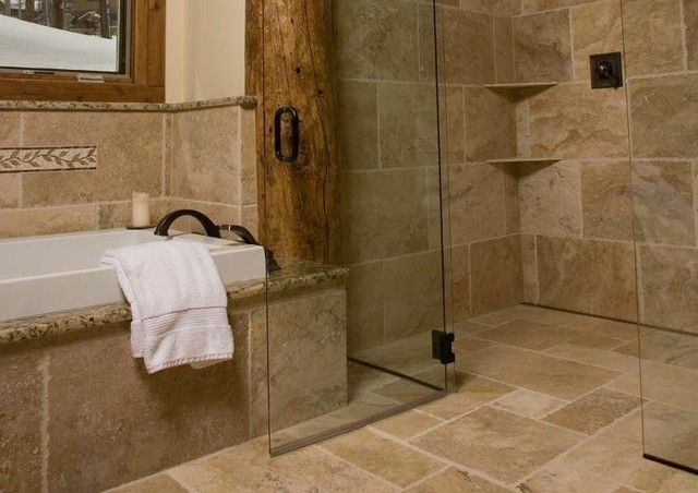 Nice Continuous Floor Tile In Rustic Shower