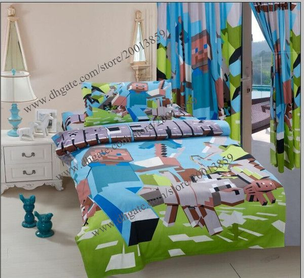 100%cotton Minecraft Duvet Cover 3d Bedding Set Kids