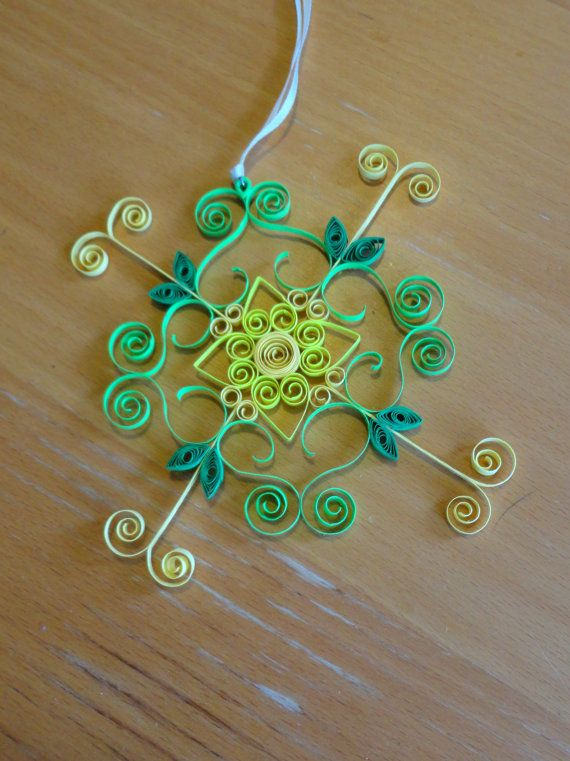 Quilled snow flower 03 Ornament by Alohadragon on Etsy, $9.00