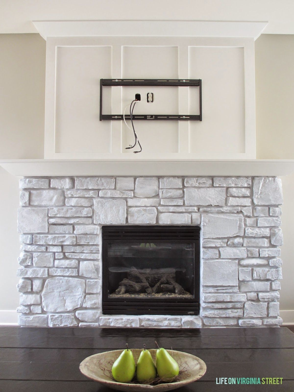 A White Washed Stone Fireplace Tutorial Hawbrook