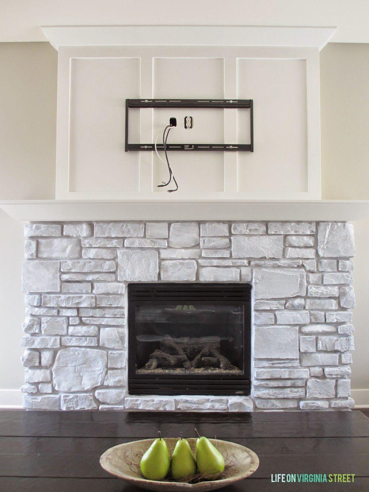 A WhiteWashed Stone Fireplace Tutorial  Hawbrook  Painted stone fireplace Stone fireplace