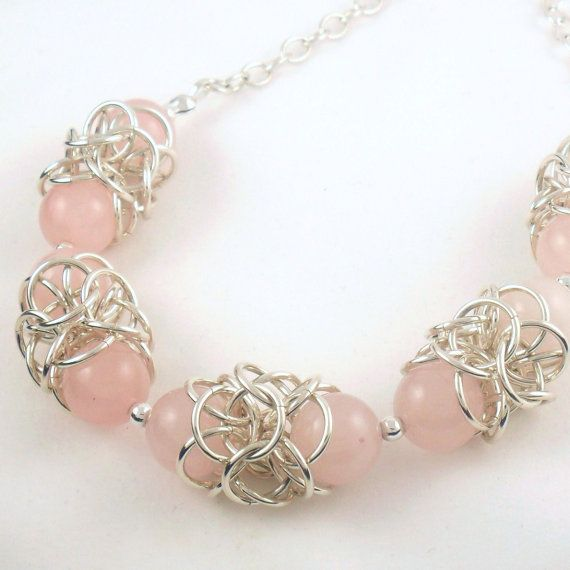 Rose Quartz Chainmaille Sterling Silver Necklace - Bridal Necklace - Pink Necklace