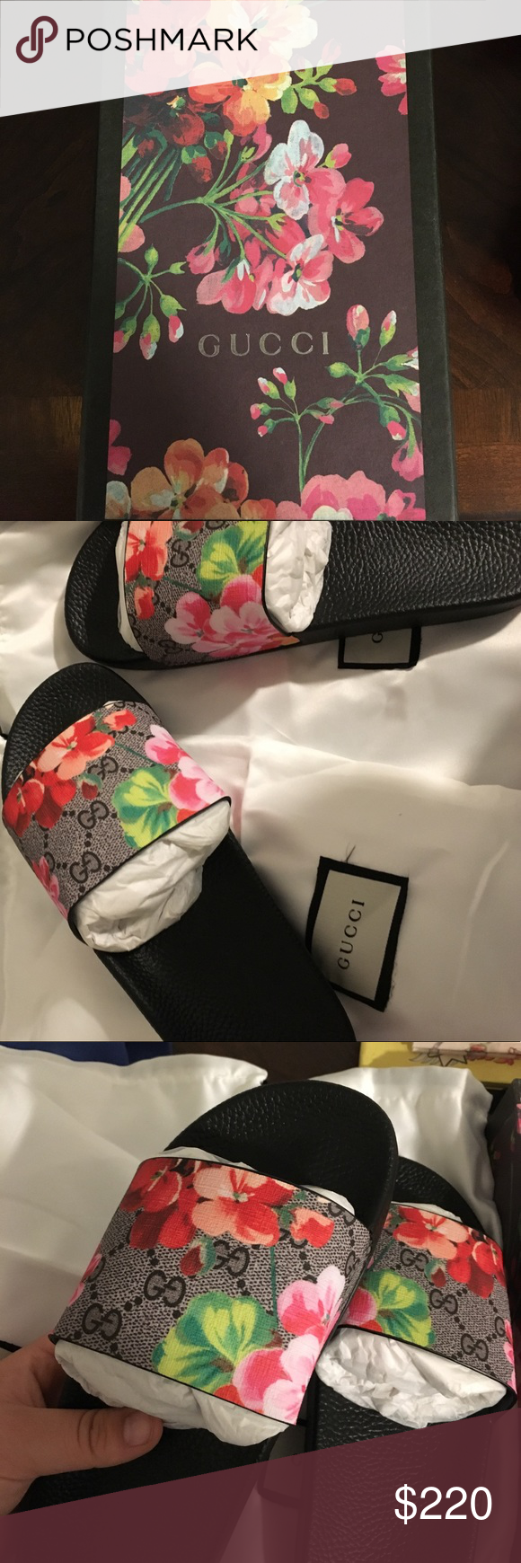 c7d8f96ea Gucci GG Blooms Supreme Slide Sandal Brand new Gucci Blooms slides! Never  worn before. Comes with box