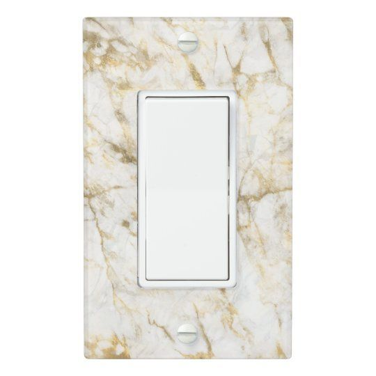 Luxury Gold and White Marble Light Switch Cover | This chic white and gold marble texture light switch cover will add a touch of elegance to any room.