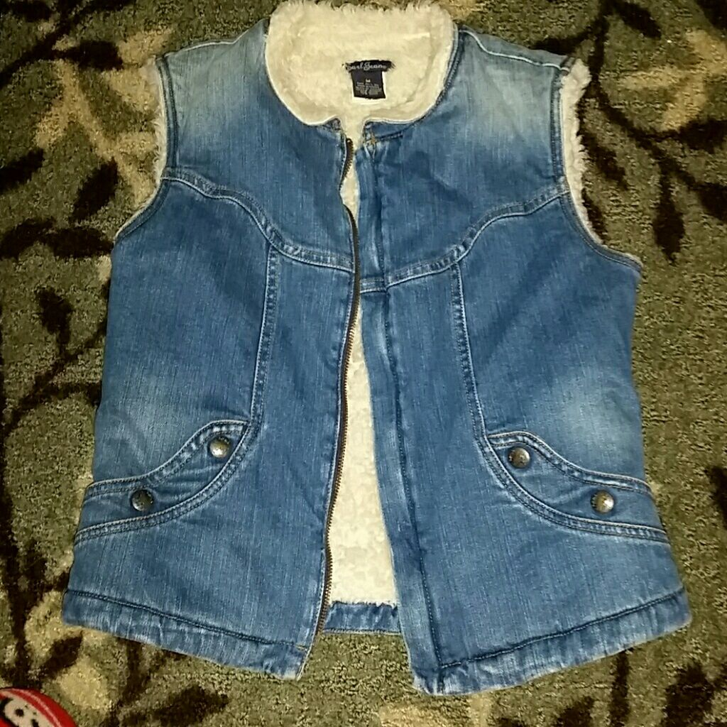Rare earl jeans fleece lined denim vest medium pinterest denim