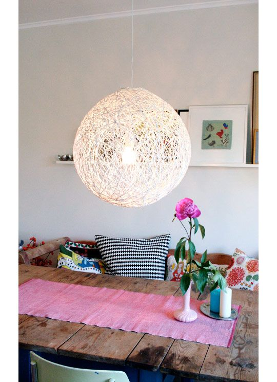 yarn pendant lamp