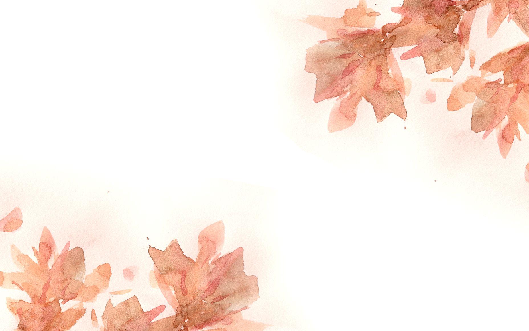 watercolour autumn leaves desktop wallpaper background