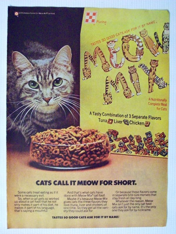 Meow Mix Dry Cat Food Vintage Magazine Advertisement 1976 Homemade Cat Food Cat Food Cat Food Brands