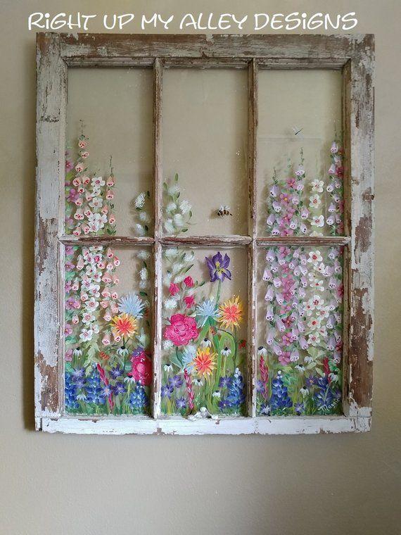 10 Old Painted window ideas from custom orders,ALL SOLD,Window wall art,window pane art,vintage painted window,unique repurposed window idea #albumart