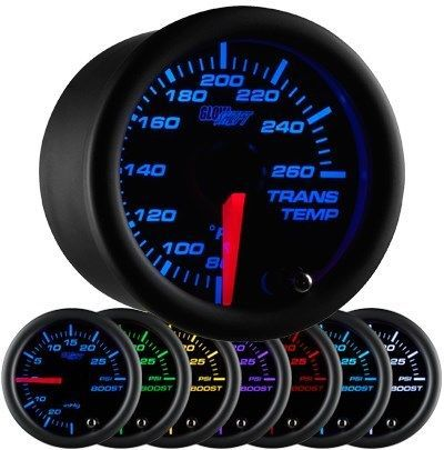 52mm GLOWSHIFT BLACK 7 COLOR ELECTRICAL TRANSMISSION TRANS TEMP