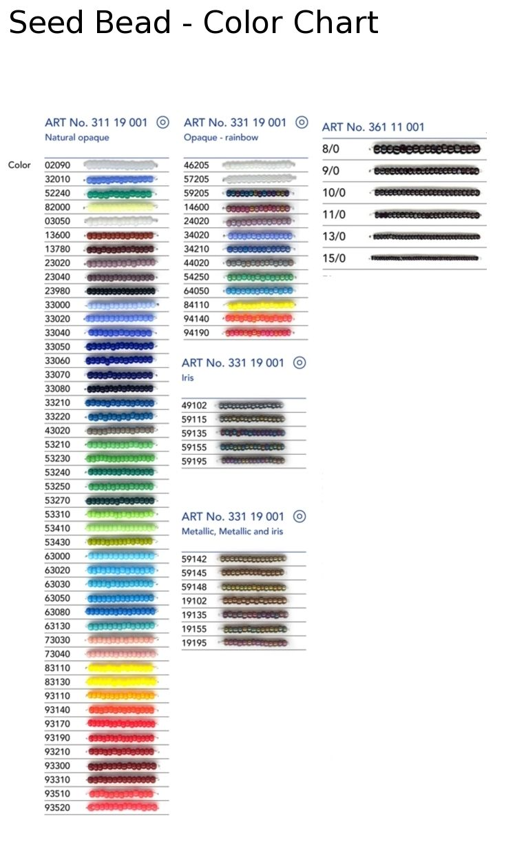 pony bead color chart | seed beads size 8 0 1 hank previous in ...