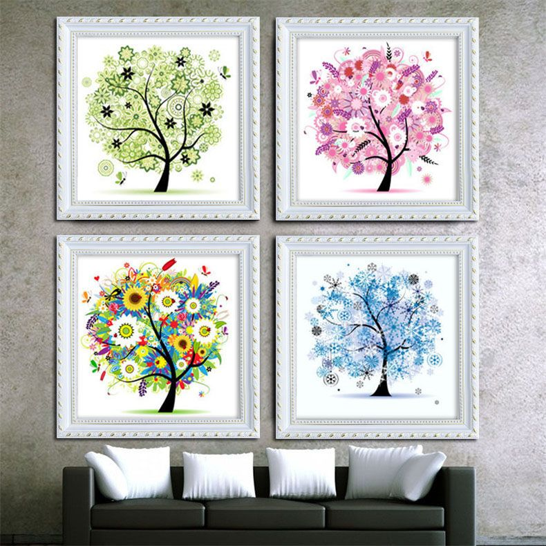Diamond Embroidery Diy 5d Tree Mosaic Rhinestone Four Seasons Pachira Diamond Painting Cross