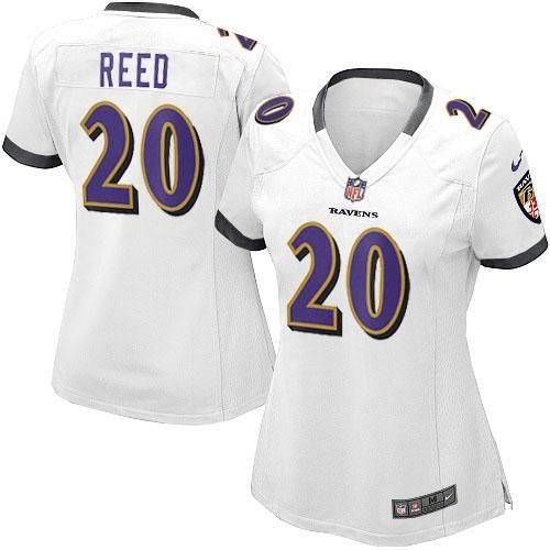 dcd62ac59 Nike NFL Baltimore Ravens 20 Ed Reed Elite Women White Road Jersey ...