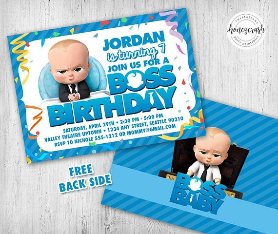 Boss Baby Birthday Invitation Printable Digital File