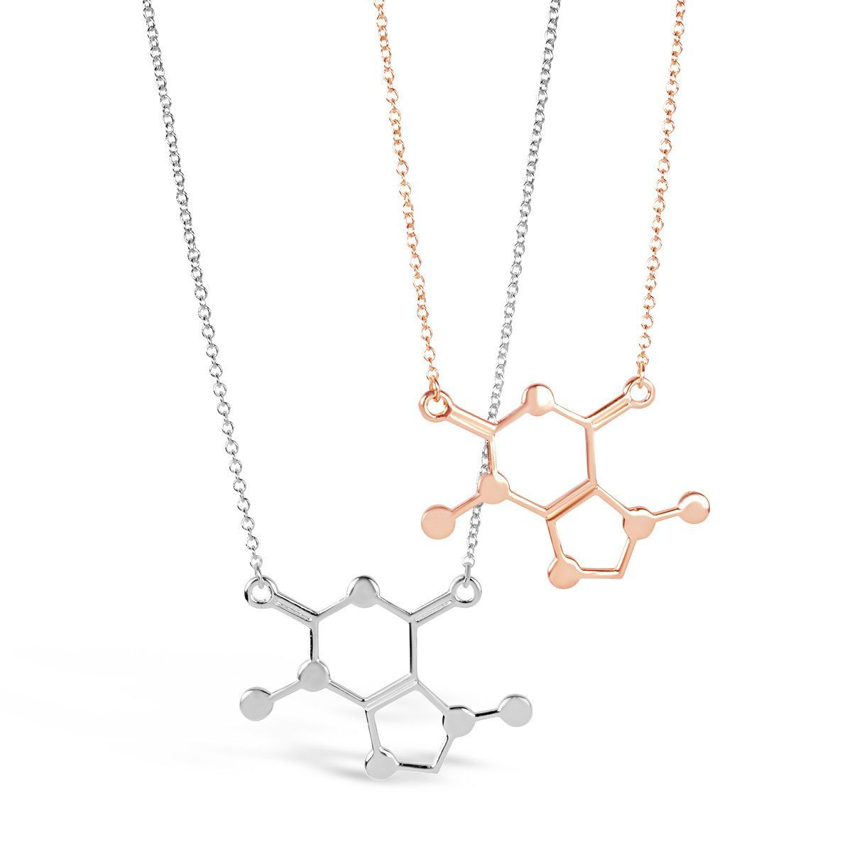 molecule internet necklace pendant helix silver dna store product double